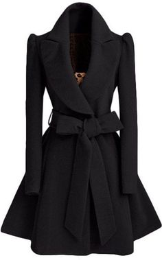 Black Plain Bow Single Breasted Fashion Wool Coat