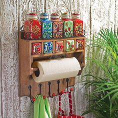 Handmade Painted Kitchen Rack 5 Ceramic Spice Jars, Drawers and Hooks - Indian Furniture | Elephant Interiors
