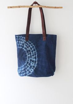 3f0fd4bdf Gift for her Indigo hand dyed handbag. Boho chic handbag with leather  handles. Blue bag. Gift for si