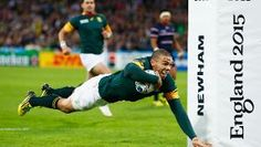 Bryan Habana goes over to score his second try and South Africa's sixth during the 2015 Rugby World Cup Pool B match between South Africa and USA at the Olympic Stadium Jonah Lomu, Rugby Pictures, Newham, Rugby World Cup, Equality, Olympics, England, Sports, Life
