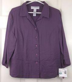 Sag Harbor Blouse Weskits Career Shirt Button Front 3/4 Sleeve Purple Size 16P #SagHarbor #Blouse #CareerDressy