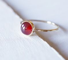 Garnet Ring 14k Gold Jewelry Stacking Ring Red Garnet by Luxuring