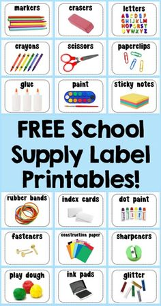School Supply Labels ~ Free Printables Literacy and Laughter - Celebrating Kindergarten children and the books they love: Five For Friday Classroom Organisation, Teacher Organization, Classroom Management, Teacher Desks, Organised Teacher, Teacher Toolbox Labels, Teachers Toolbox, Behavior Management, Free School Supplies