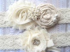 Ivory Vintage Inspired Bridal Garter Set  .. Wedding Garter Set .. Toss Garter included ... $29.00, via Etsy.