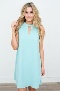 Shop our Keyhole Sleeveless Dress in Mint. Free shipping on all US orders!