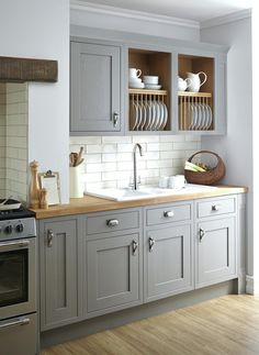 Open Cabinets Light Grey Kitchen Coloured Blue