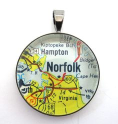 Road Map Pendant of Norfolk Virginia from by CarpeDiemHandmade, $10.00...I'm from Hampton...Just above Norfolk.