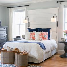 Farmhouse style bedroom with unique wall mount lamps | Decolover.net