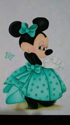 Minnie Mouse in her beautiful green dress