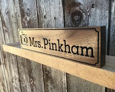 custom hand made solid wood name plaque stand block personalised gift present