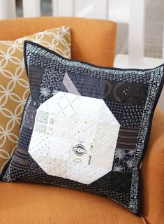 Simple, scrappy Patchwork Pumpkin quilt block tutorial - perfect to make into a Halloween pillow or fall decor.
