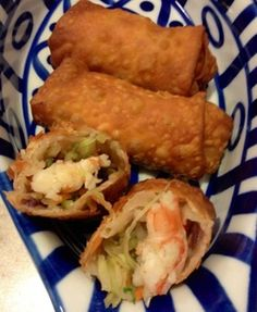 This is a recipe for delicious shrimp egg rolls.  I use the shrimp from the frozen state, just run under cool water and work with your hands to remove shell.  I pick up frozen shrimp on sale and store them in the big freezer up to 6 months.  You can also freeze the egg rolls in a plastic bag, just make sure you squish as much air out as you can.  You can freeze these, and the dipping sauce, for several months.  Enjoy!