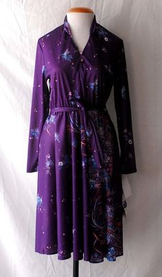 Women's 1970s Peebles Purple Polyester Flowered Disco Dress with Original Tags