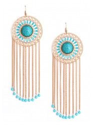 Fringed Turquoise Earrings $14.00