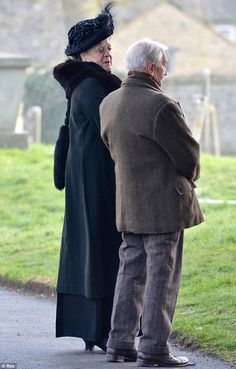 Sad times: The Right Honourable Violet Crawley, Dowager Countess of Grantham looked distressed at Matthew's graveside