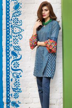 Khaadi 2 Piece Stitched Printed Lawn Suit - J17205 - Blue - libasco.com #khaadi #khaadionline #khadiclothes #khaadi2017 #kaadisummer