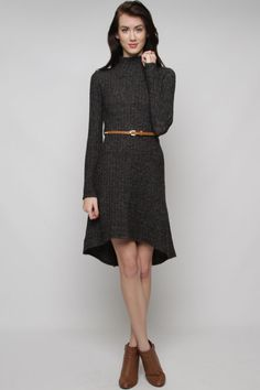 Amberly Sweater Dress in Charcoal on Emma Stine Limited.  Great look with the high/low hem.  Make in charcoal grey or black.  I like the brown belt.  See what I have.