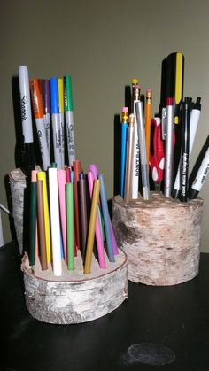 Pencil/pen holder made from a White Birch Tree from our yard