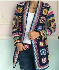 Gorgeous crochet granny square jackets are back on trend for Fall, and we've got all the best patterns and a video tutorial! Gorgeous crochet granny square jackets are back on trend for Fall, and we've got all the best patterns and a video tutorial! Crochet Jacket Pattern, Gilet Crochet, Granny Square Crochet Pattern, Crochet Poncho, Crochet Squares, Crochet Granny, Granny Squares, Crochet Patterns, Knitting Patterns