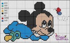 Mickey Cross Stitch For Kids, Mini Cross Stitch, Cross Stitch Kits, Cross Stitch Charts, Cross Stitch Designs, Cross Stitch Patterns, Cross Stitching, Cross Stitch Embroidery, Perler Bead Emoji