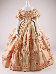 1860-1861, France  Silk evening dress  MET Museum