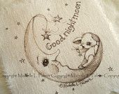 Original Pen Ink on Fabric Illustration Quilt Label by Michelle Palmer Teddy Bear Moon