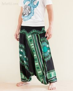 African Dashiki Harem Pants Unisex Low Crotch Yoga Trousers (Green)