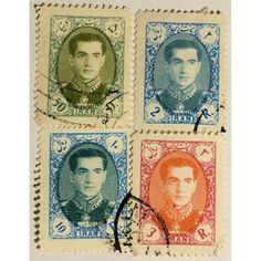 Persia, Iran Mohammad Reza Shah Pahlavi (1941-1980) set of 4 stamps used. Mohammad Reza Shah Pahlavi (1919 – 1980) was the Shah of Iran from 16 September 1941 until he was overthrown by the Islamic Revolution on 11 February 1979.