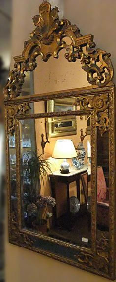 Beautiful large mirror #Regency #style richly #decorated in #giltwood. 18th century. For sale on Proantic by L'autre Temps.