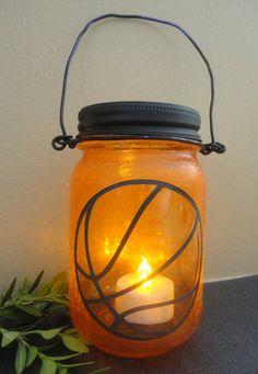 Basketball Theme Stained Glass Matte Finish by LightMyWayLanterns Mason Jar Lanterns, Mason Jar Lamp, Home Decor Lights, Light Decorations, Patio Lighting, Fathers Day Gifts, Night Light, Stained Glass, Basketball