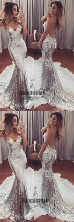 Spaghetti Straps V-Neck Cross Back Mermaid Prom Dress, Sexy Sequin With Trailing Prom Dress, Prom Dresses, VB0250 #promdress