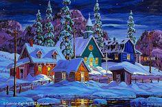 Winter Painting, Cottage Art, Winter's Tale, Z Arts, Universe Art, Christmas Scenes, Naive Art, Winter Theme, Minimalist Art