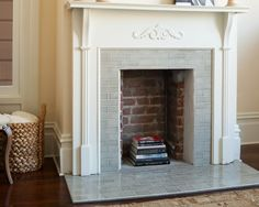 grey crackled subway tile for fireplace. Modern and classic