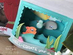 Today I'm sharing a couple of shadow box interactive cards created with the new Lawn Fawn Shadow Box Card Theater Add On Dies and Shadow Box Ocean Add On Dies. The popular Shadow Box Card is made even more. Fun Fold Cards, 3d Cards, Folded Cards, Cute Cards, Pop Up, Box Cards Tutorial, Lawn Fawn Stamps, Interactive Cards, Handmade Birthday Cards