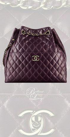 0cdc391a0385 Chanel Dark Purple Drawstring Bag New Chanel Bags
