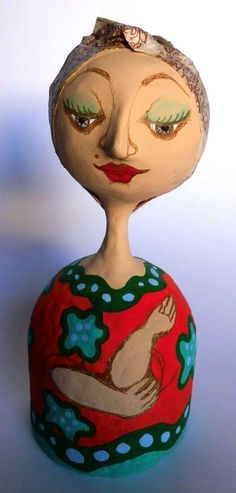 Unique papier mâché dolls, handmade by Karina Sellanes (Venezuela) [$40.00] Height 8 in, Weight 10 oz
