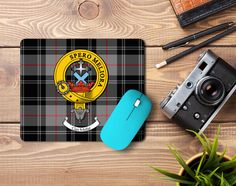 Rubber mousemat with Moffat clan crest and tartan - only from ScotClans