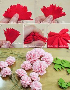 Haz arreglos florales con claveles de tela | Solountip.com
