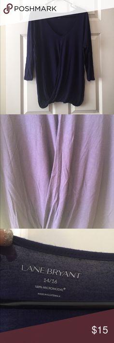 Lane Bryant size 14/16 cross front blouse Lane Bryant size 14/16 criss cross front blouse in purple. 100% micromodal so super soft! 3/4 sleeve. Lane Bryant Tops Blouses