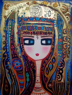 Doll Painting, Artist Painting, Iranian Art, Turkish Art, Blue Art, Whimsical Art, Art World, Cool Artwork, Art Pictures