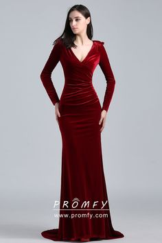 Burgundy Velvet Dress Long - Gowns and Dress Ideas Shrug For Dresses, Evening Dresses With Sleeves, Cheap Evening Dresses, Women's Dresses, Elegant Dresses, Evening Gowns, Beautiful Dresses, Fashion Dresses, Velvet Evening Gown