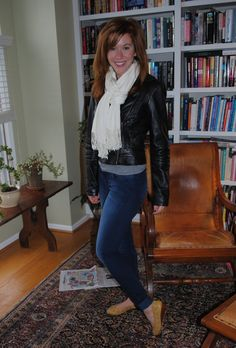 outfit featuring j brand jeans and a black leather moto jacket