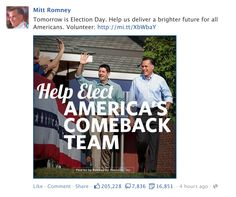 Romney FB post night before Election