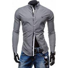 Jemná pásikavá pánska košeľa Motorcycle Jacket, Shirt Dress, Mens Tops, Jackets, Shirts, Dresses, Fashion, Down Jackets, Vestidos