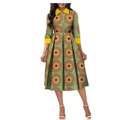 African Dresses for Women Dashiki Elegant Slim Africa Clothe, three quarter sleeve calf-length zipper A-line wax cotton dress for women African Fashion Ankara, Latest African Fashion Dresses, African Print Fashion, Africa Fashion, Women's Fashion Dresses, Short African Dresses, African Print Dresses, Ankara Dress Styles, African Traditional Dresses