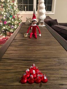 Elf on the Shelf bowling with kisses Christmas Elf, All Things Christmas, Christmas Crafts, Christmas Decorations, Elf On The Self, The Elf, Christmas Activities, Christmas Traditions, Awesome Elf On The Shelf Ideas