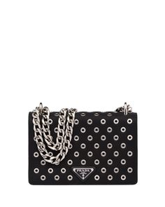Prada Tessuto/Calfskin Grommet Chain Shoulder Bag, Black (Nero)