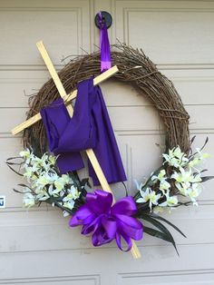 Easter wreath True meaning of Easter [media_id: Spring Door Wreaths, Holiday Wreaths, Holiday Crafts, Holiday Decor, Easter Wreaths Diy, Front Door Wreaths, Homemade Wreaths, Wreath Crafts, Diy Wreath