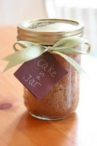 Cake in a Jar -   These are GREAT and just something that's homemade to include in a care package.    It's basically a mini cake inside of a mason jar. It arrives moist and fresh and tasty! (did I mention it's homemade??)    Here's how to make them:    Get wide-mouth canning jars. You can find them at Walmart, other stores, or online. Boil the jars to sterilize.    1 package of cake mix or...
