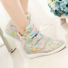 Fashion Graffiti Velcro Platform Height Increasing Women Wedge Sneakers High Top Sneakers For Women Ladies Casual Wedges Shoes High Top Sneakers, Wedge Sneakers, Wedge Shoes, Kawaii Shoes, Feminine Tattoos, Womens Fashion Sneakers, Only Fashion, Shoe Closet, Cool Girl
